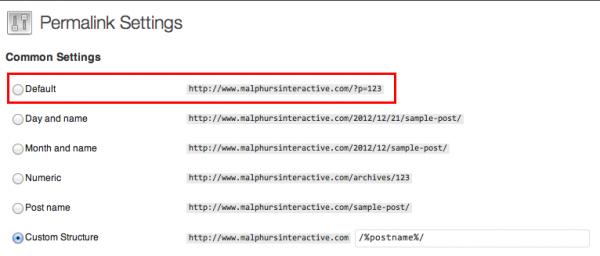Default WordPress Permalink Structure