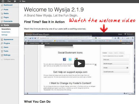 WYSIJA Welcome Screen