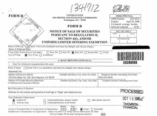 Form D Filing, 2005