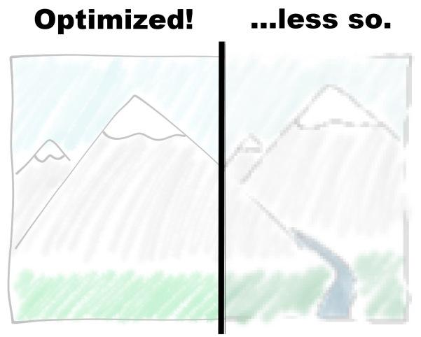 illustration showing improvement from optimizing images