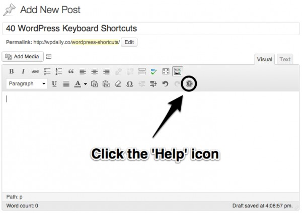 wordpress shortcuts keyboard
