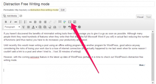 Full screen mode WordPress