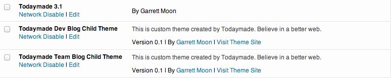 wordpress multisite theme settings