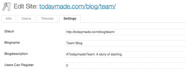 WordPress multisite site admin
