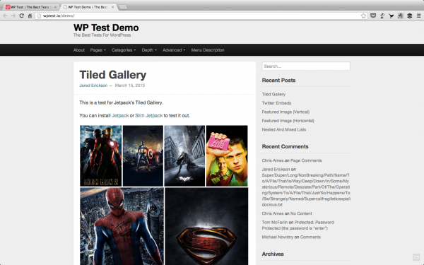 Check out the demo to see all the WP Test has to offer.