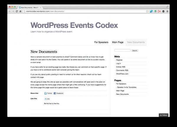 wordpress-events-codex