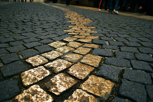 Gold pavement...