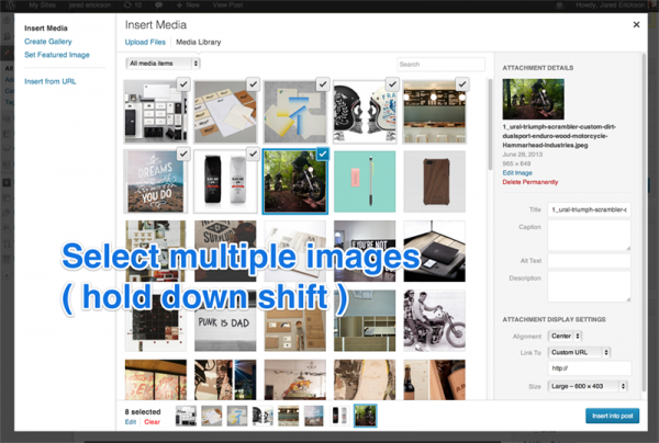 Select multiple images  ( hold shift as you select )