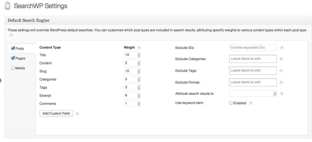 searchwp plugin settings page