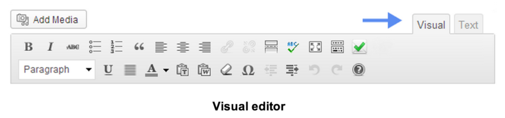 visual editor toolbar