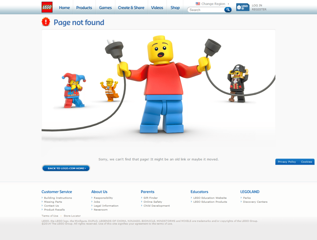 404 page examples Lego
