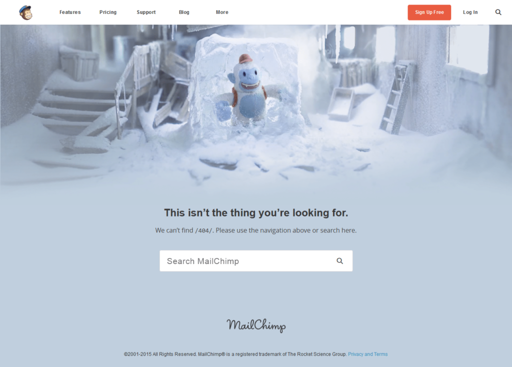 404 page examples MailChimp