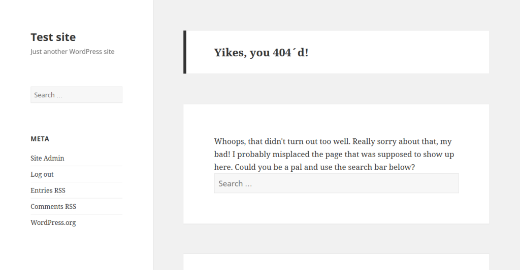 Custom 404 page with widgets custom text
