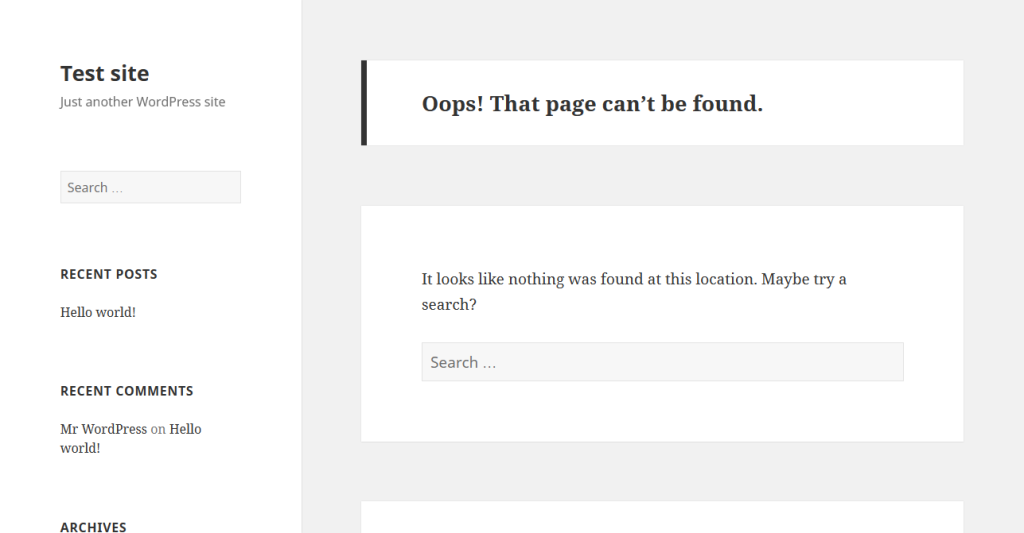 WordPress Twenty Fifteen 404 error page
