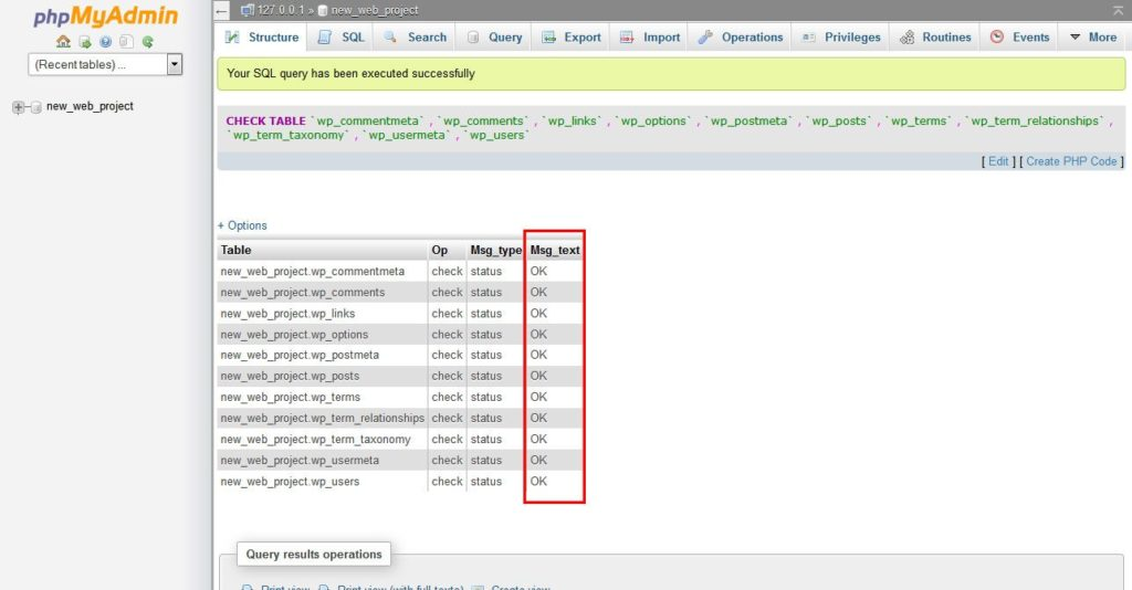 phpMyAdmin-check-tables